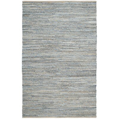 Gilchrist Hand-Woven Natural/Blue Area Rug Rug Size: Rectangle 2-3 X 14