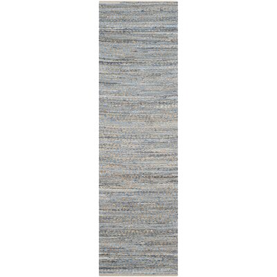 Gilchrist Hand-Woven Natural/Blue Area Rug Rug Size: Runner 23 x 22