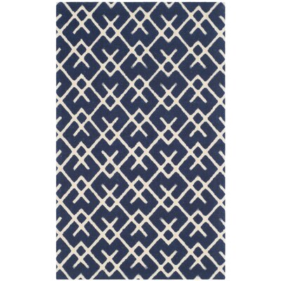 Branford Hand-Loomed Navy/Ivory Area Rug Rug Size: Rectangle 23 x 39
