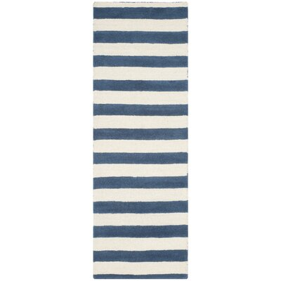 Leighton Hand-Tufted Navy/Ivory Area Rug Rug Size: Runner 26 x 8