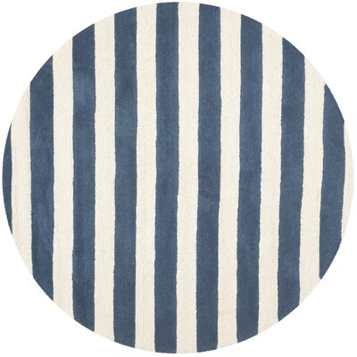 Torrington Hand-Tufted Navy/Ivory Area Rug Rug Size: Round 6'