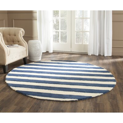 Leighton Hand-Tufted Navy/Ivory Area Rug Rug Size: Round 6
