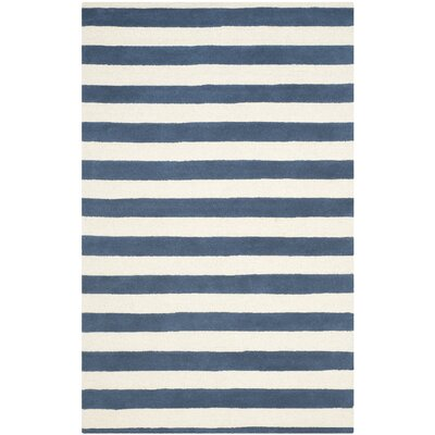 Torrington Hand-Tufted Navy/Ivory Area Rug Rug Size: 2' x 3'