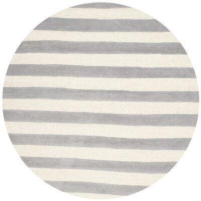 Torrington Hand-Tufted Grey/Ivory Area Rug Rug Size: Round 6'