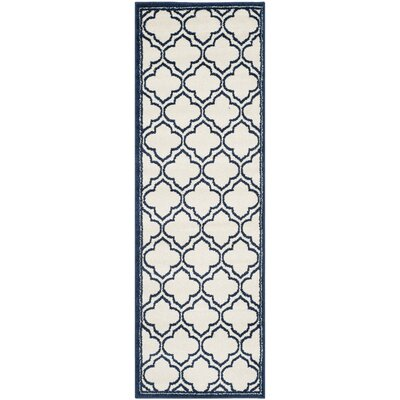McArthur Traditional Ivory/Navy Indoor/Outdoor Area Rug Rug Size: Runner 23 x 7