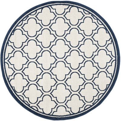 Harwington Ivory/Navy Indoor/Outdoor Area Rug Rug Size: Round 7'