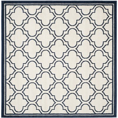 McArthur Traditional Ivory/Navy Indoor/Outdoor Area Rug Rug Size: Square 7