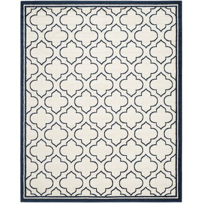 McArthur Traditional Ivory/Navy Indoor/Outdoor Area Rug Rug Size: 3 x 5