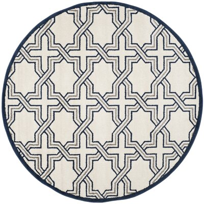 McArthur Ivory/Navy Indoor/Outdoor Area Rug Rug Size: Round 7