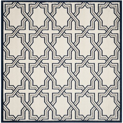 McArthur Ivory/Navy Indoor/Outdoor Area Rug Rug Size: Square 7