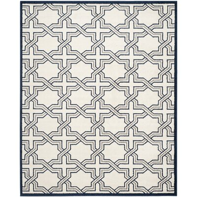 McArthur Ivory/Navy Indoor/Outdoor Area Rug Rug Size: Rectangle 9 x 12