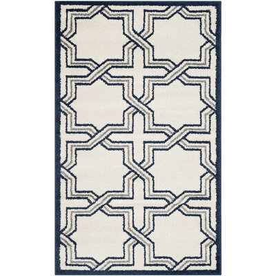 McArthur Ivory/Navy Indoor/Outdoor Area Rug Rug Size: Rectangle 26 x 4