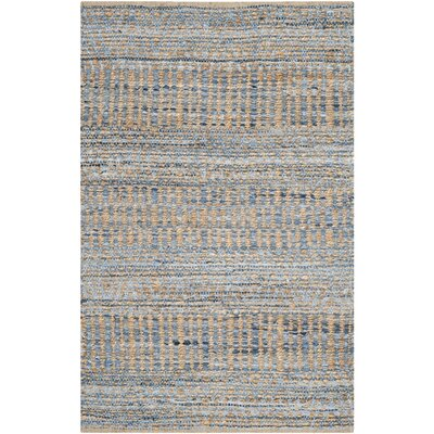 Cromwell Hand-Woven Natural/Blue Area Rug Rug Size: 2 x 3