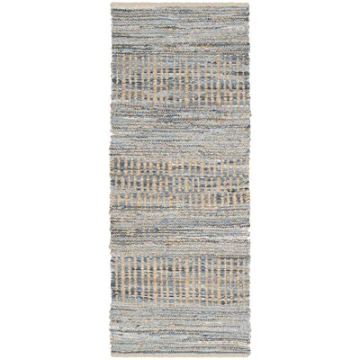Cromwell Hand-Woven Natural/Blue Area Rug Rug Size: Runner 23 x 12