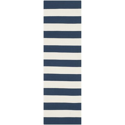 Brookvale Hand-Woven Cotton Navy/Ivory Area Rug Rug Size: Runner 2'3