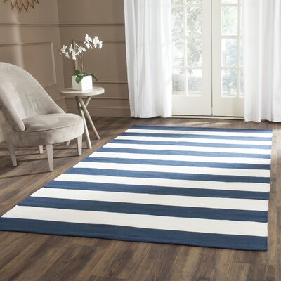 Breakwater Bay Wallingford Hand-Woven Navy/Ivory Area Rug