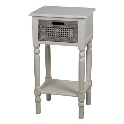 Meddebemps 1 Drawer End Table Color: Cream Melody