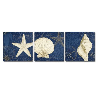 Coastal Moonlight Teal 3 Piece Painting Print on Wrapped Canvas Set