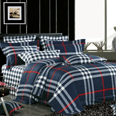 Carver 4 Piece Reversible Duvet Cover Set Size: King