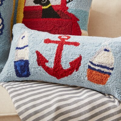 Biscay Anchor, Beach and Whale Hook Wool Lumbar Pillow