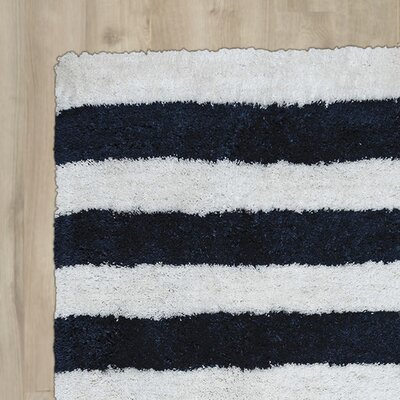 Dublin Hand-Tufted Navy/Ivory Indoor/Outdoor Area Rug Size: Round 3