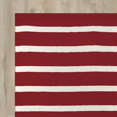 Lyndon Hand-Tufted Red Indoor/Outdoor Area Rug Size: 76 x 96