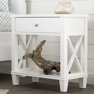 Flintridge 1 Drawer End Table Color: White