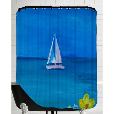 Pilottown Set Sail on A White Boat in The Caribbean I Shower Curtain