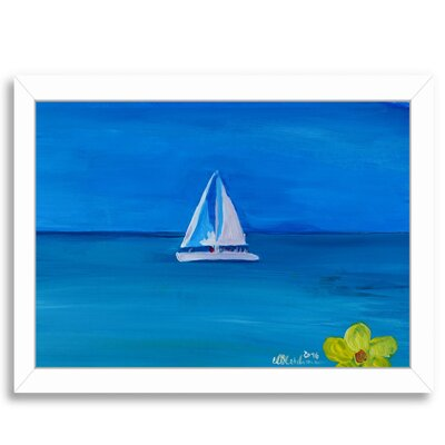 Set Sail on A White Boat in The Caribbean I Framed Painting Print