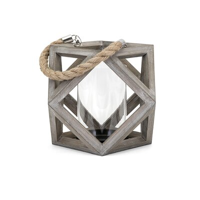Wood Lantern Candle Holder Size: 8 H x 11.5 W x 11.5 D