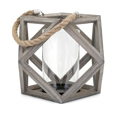 Wood Lantern Candle Holder Size: 19.5 H x 13 W x 13 D