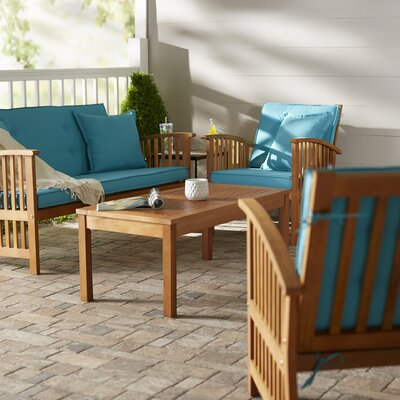 Sabbattus 8 Piece Set Benches Seating Group with Cushion Color: Aqua Blue