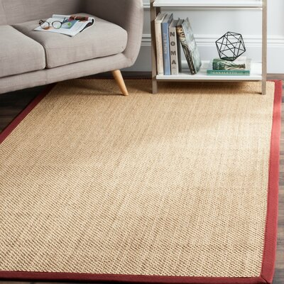 Hillsborough  Beige / Burgundy Area Rug Rug Size: Rectangle 4 x 6