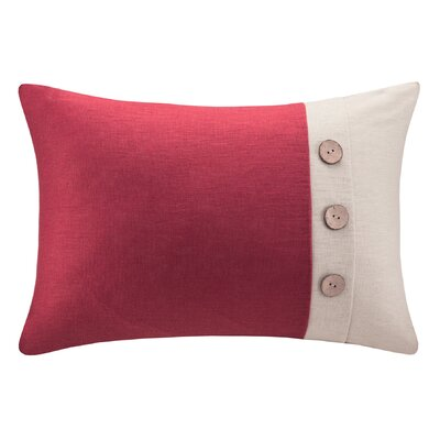 Averill Oblong Linen Lumbar Pillow Color: Red