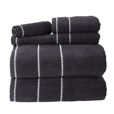 Davenport 100% Cotton 6 Piece Towel Set Color: Black