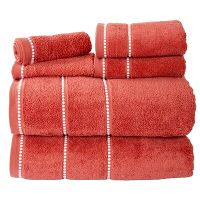 100% Cotton 6 Piece Towel Set Color: Brick