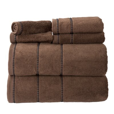 100% Cotton 6 Piece Towel Set Color: Chocolate