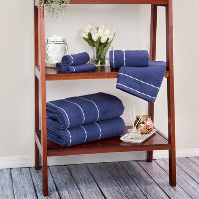 Davenport 100% Cotton 6 Piece Towel Set Color: Navy