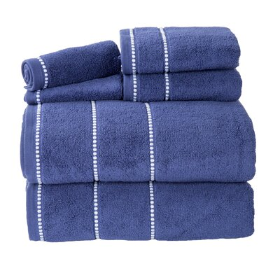 100% Cotton 6 Piece Towel Set Color: Navy