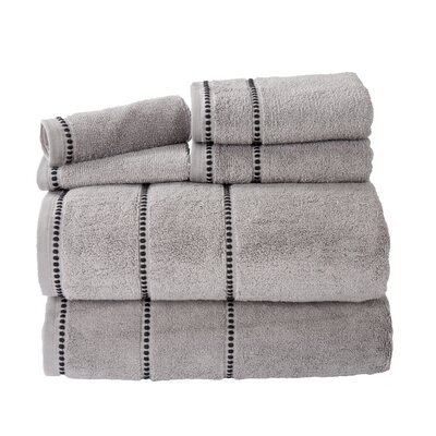 100% Cotton 6 Piece Towel Set Color: Silver