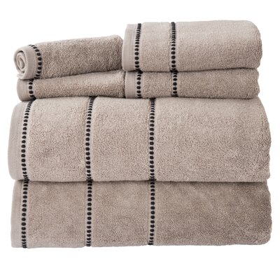 Davenport 100% Cotton 6 Piece Towel Set Color: Taupe