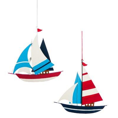 2 Piece Sailboat Tin Ornament Set