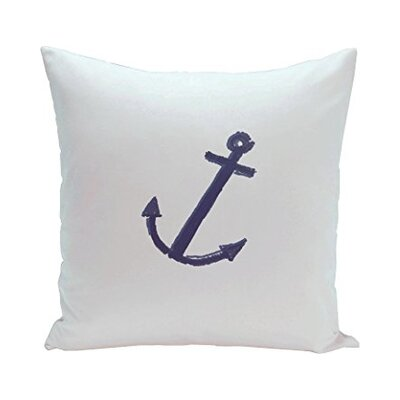 Callahan Coastal Print Outdoor Pillow Color: Navy / Ivory, Size: 18 H x 18 W x 1 D