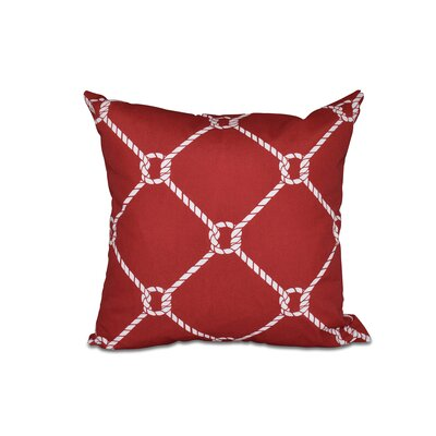 Bridgeport Ahoy Throw Pillow Size: 16 H x 16 W, Color: Red