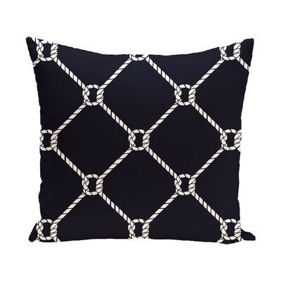 Bridgeport Ahoy Outdoor Throw Pillow Color: Navy Blue, Size: 20 H x 20 W