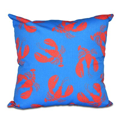 Hancock Lobster Fest Coastal Throw Pillow Size: 26 H x 26 W, Color: Blue