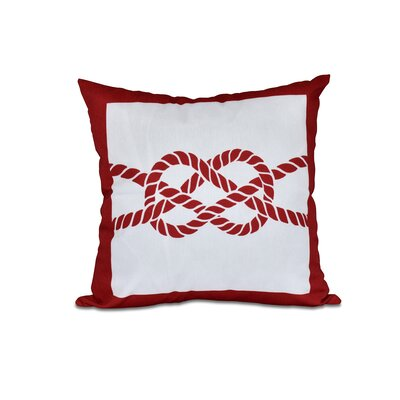Hancock Nautical Knot Geometric Throw Pillow Color: Red, Size: 18 H x 18 W