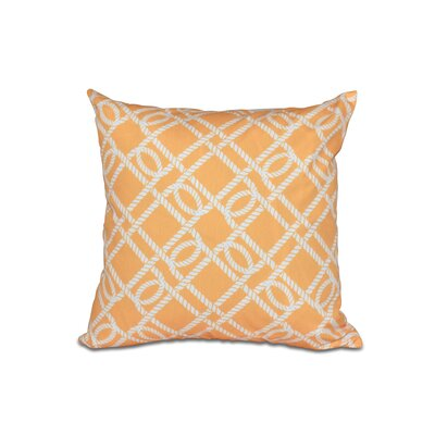 Bridgeport Know the Ropes Geometric Outdoor Throw Pillow Color: Beige/Taupe, Size: 16 H x 16 W