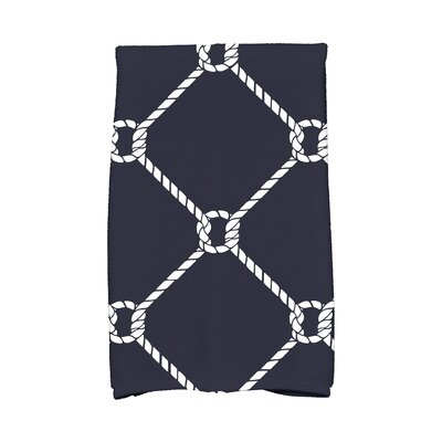 Bridgeport Ahoy! Geometric Print Hand Towel Color: Navy Blue