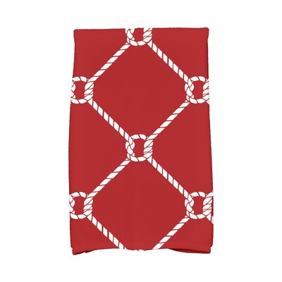Bridgeport Ahoy! Geometric Print Hand Towel Color: Red